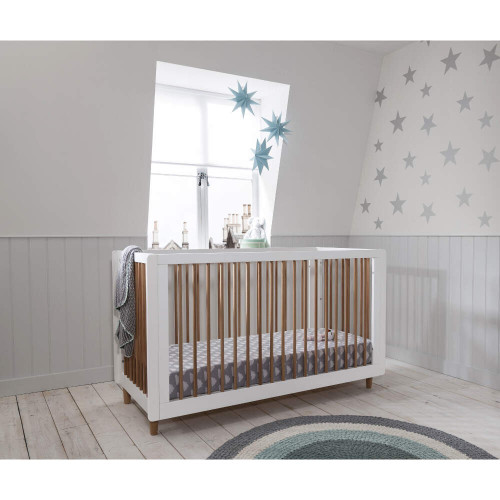 Tutti Bambini Siena 3-in-1 Cot Bed (White & Beech)