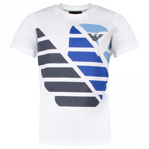 EMPORIO ARMANI Boys White T shirt With Blue Contrast