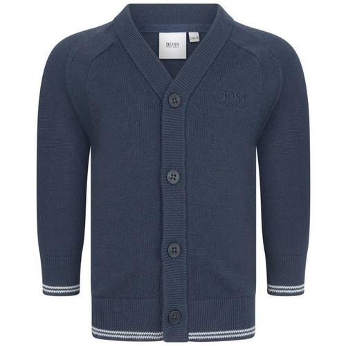 BOSS KIDS BABY BOYS NAVY COTTON KNITTED CARDIGAN