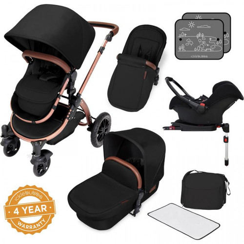 Ickle Bubba Stomp V4 Special edition All in One Travel System with Isofix Base, Midnight Bronze