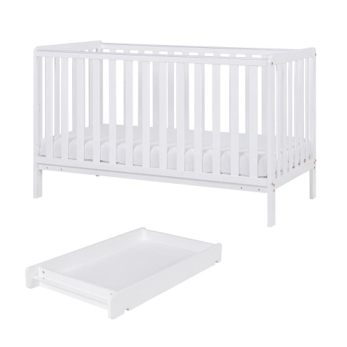 Tutti Bambini Malmo Cot Bed with Cot Top Changer & Mattress - White