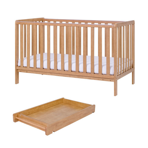 Copy of Tutti Bambini Malmo Cot Bed with Cot Top Changer & Mattress - Oak