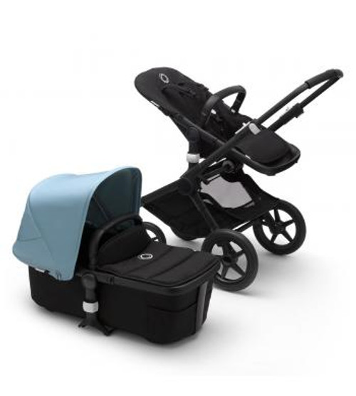 Bugaboo Fox2 Complete Vapor Blue on Black Chassis & Carrycot NEW 2020