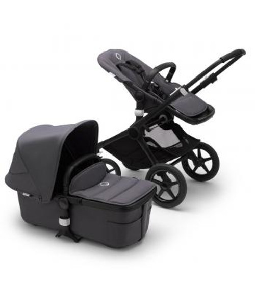 Bugaboo Fox2 Complete Steel Blue on Black Chassis & Carrycot NEW 2020