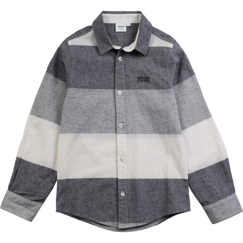 BOSS TODDLER - GREY WITH WHITE BLOCK COLOUR SHIRT,