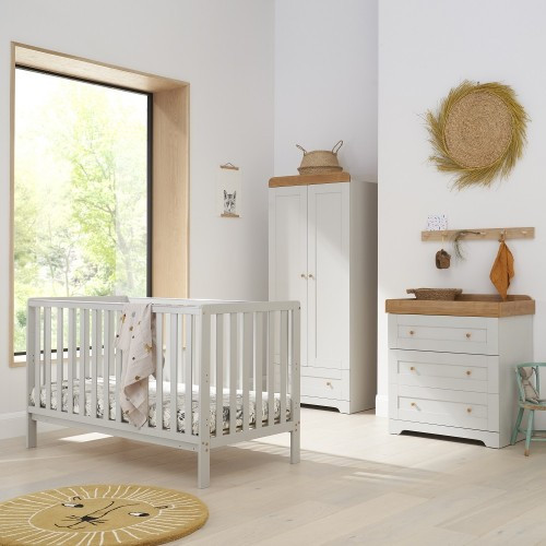 DOVE GREY MALMO COT BED WITH RIO FURNITURE 3 PIECE SET DOVE GREY/OAK (Summer sale)