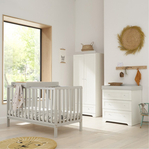 Tutti Bambini Dove Grey Malmo Cot Bed with Rio Furniture 3 piece Set White/Dove Grey (2020)