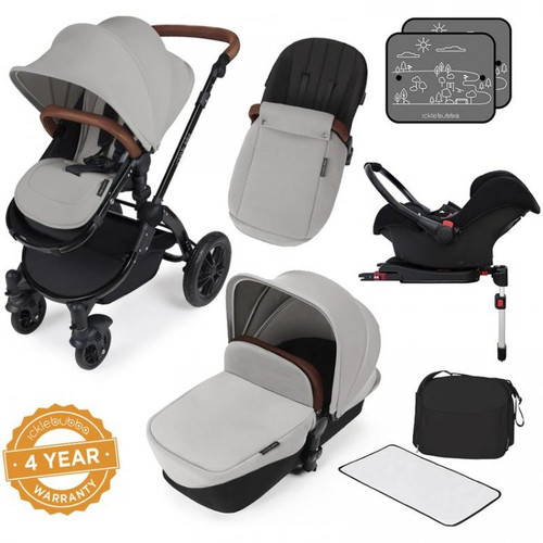 Ickle Bubba Stomp V3 Black Chassis All in One Travel System with Isofix Base, Silver