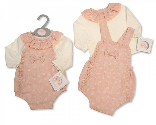 Baby Girls Romper Set with Bow and Lace