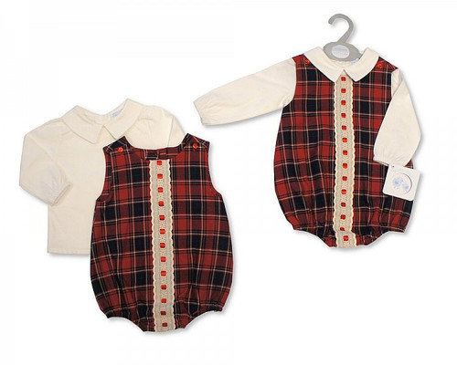 Baby Boys 2 Pieces Tartan Romper Set with Lace Traditional Spanish Look