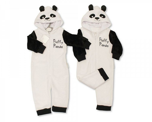 Baby Onesie - Hooded All in One - Fluffy Panda
