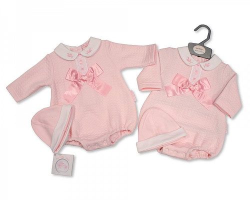 Baby Girls Bow and Lace Romper Set with Hat Spanish Style