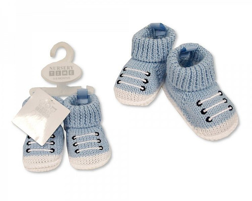 Knitted Baby Boys Booties with Laces Decoration