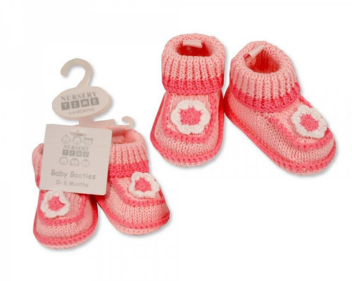 Knitted Baby Girls Booties - Flower