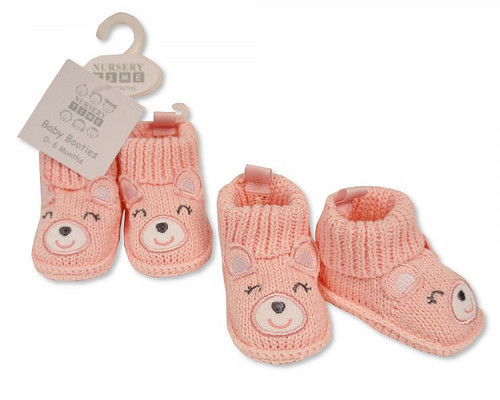 Knitted Baby Girls Booties with Face Decoration