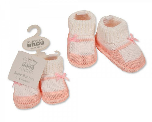 Knitted Baby Girls Booties with Bow