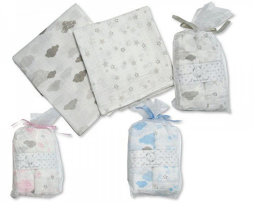 Baby Muslin Squares 2 Pack - Clouds and Stars