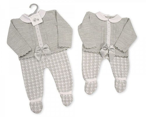 Knitted Baby 2 pcs Set with Bow and Lace Traditional Spanish Look