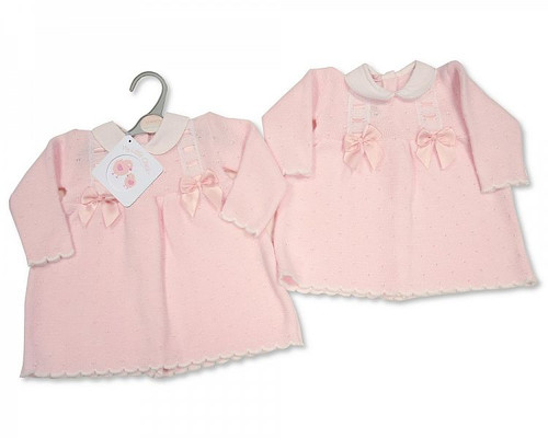 Knitted Baby Dress with Bows and Lace Traditional Spanish Look