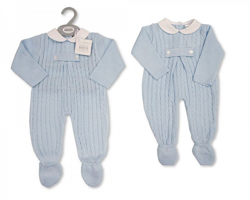 Knitted Baby Boys Long Romper with Feet and Buttons Traditional Spanish Look