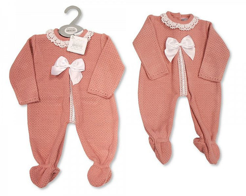 Knitted Baby Girls Long Romper with Bow and Lace Traditional Spanish