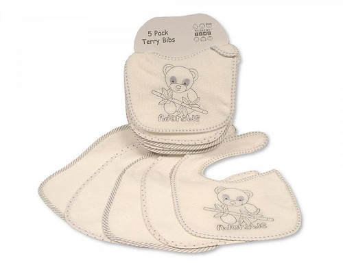 5 White Terry Baby Bibs Feeding Time Toddler Bib Panda