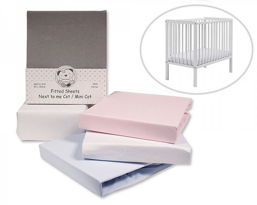 Pack of 2 Next To Me Fitted Sheet /Mini Cot