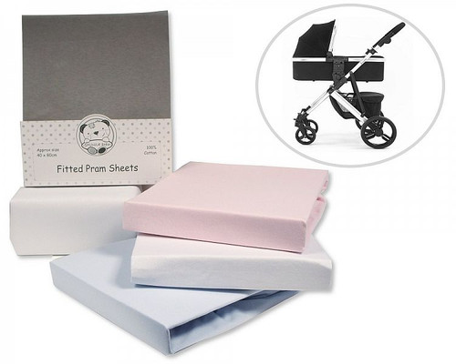 Pram Fitted Cotton Sheets - Fitted - 2 Pack