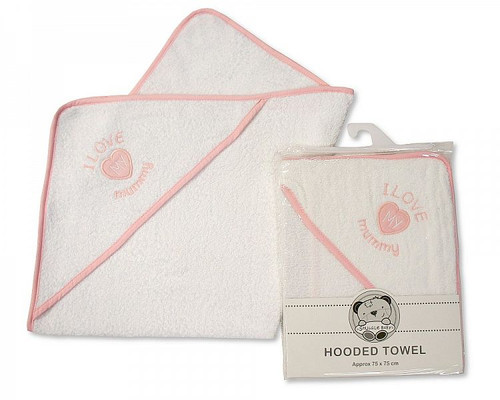 Baby Hooded Towel - I Love Mummy - Girls