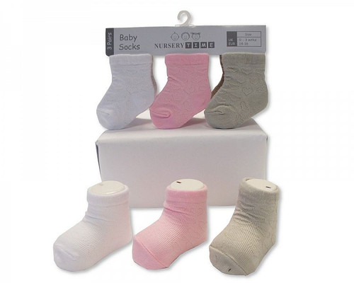 Baby Girls Socks - Heart - Pink, White, Grey