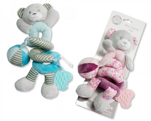 Baby Bear Spiral with Squeaker, Teether and Rattle Pink
