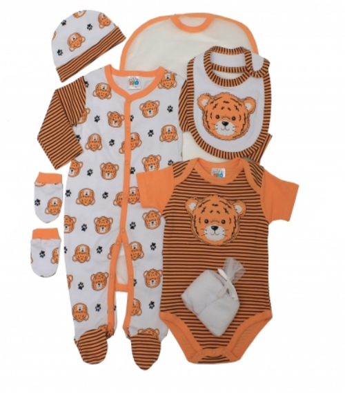 7 pcs Boys layette set with 2 wash clothes..TIGER FACE