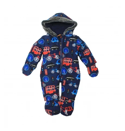 Cheeky Chimp BOYS MICROFIBRE SNOWSUIT - RED BUS