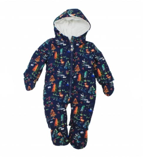 Girls Microfiber snowsuit..SWAN/HOUSE/TREE print all over