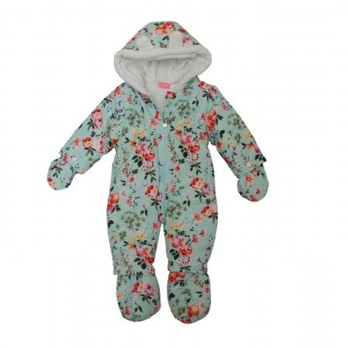 GIRLS FLORAL MICROFIBRE SNOWSUIT (0-9M) 04JTC8613
