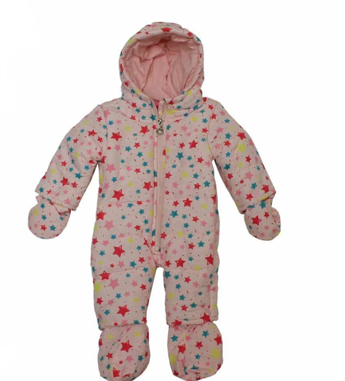 Baby Girls Star Hooded All in One Snowsuit(0-9M)