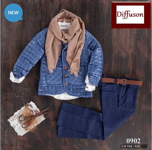 Boys Three Piece Blue Babar Jacket Trouser Set with Scarf and Belt (5-8Y)