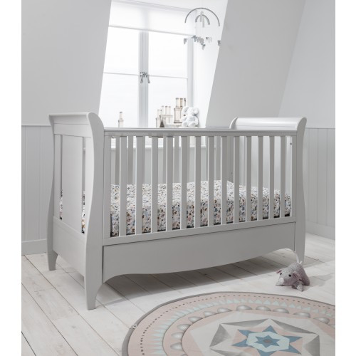 Tutti Bambini Roma Sleigh Cot Bed with Drawer – Dove Grey