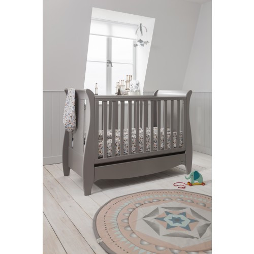 Tutti Bambini Roma Sleigh Cot Bed With Drawer - Truffle Grey
