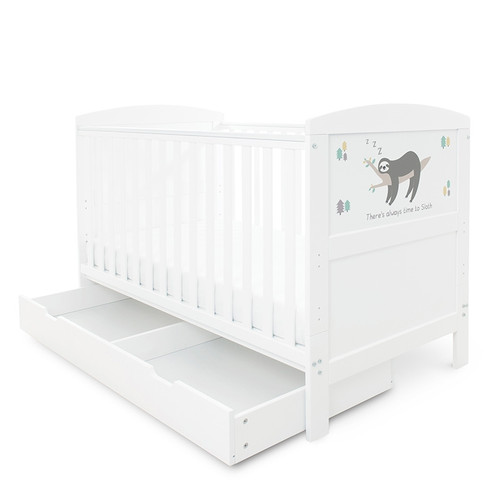 Ickle Bubba Coleby Style Cot Bed, with Under Drawer & Mattress: ID: 44-0 (Sloth Grey)02-CL2