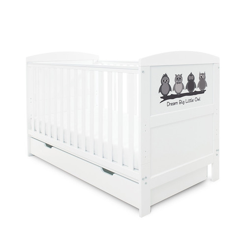 Ickle Bubba Coleby Style Cot Bed, with Under Drawer & Mattress: ID: 44-0 (Dream Big Little Owl)
