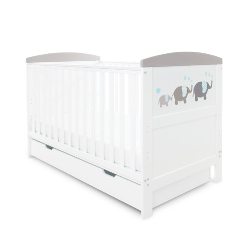 Ickle Bubba Coleby Style Cot Bed, with Under Drawer & Mattress: ID: 44-0 (Elephant Love Grey)