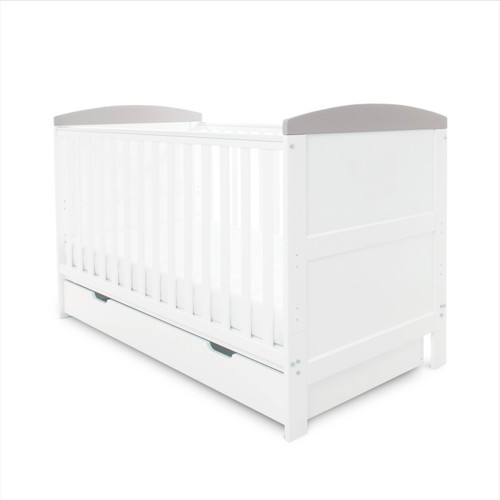 Grey Ickle Bubba Coleby Cot Bed & Under Drawer Grey withTrim : ID: 44-001-DRA/20