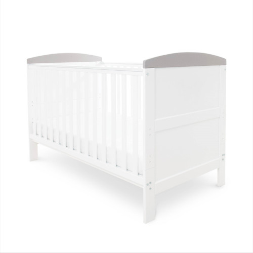 Ickle Bubba Coleby 2 Piece Cot Bed White With Grey Trim :ID: 44-001-C2F