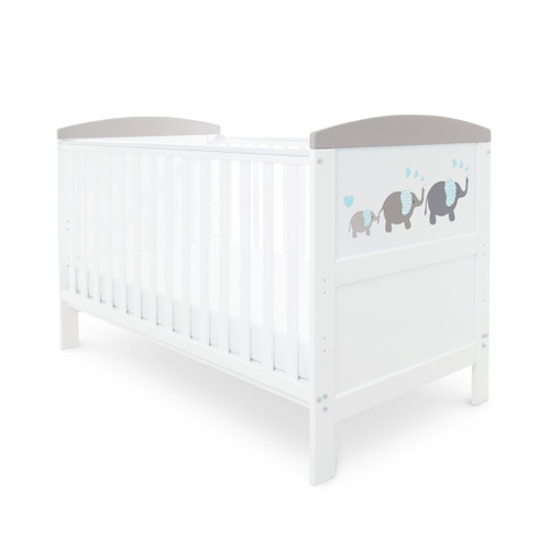 Ickle Bubba Coleby 2 Piece Cot Bed Elephant Love Grey : ID: 44-002-C2S