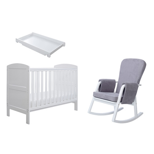 Coleby Mini Sleep, Feed & Change 4 Piece Bundle mini cot bed + sprung mattress + cot top changer + Dursley rocking chair