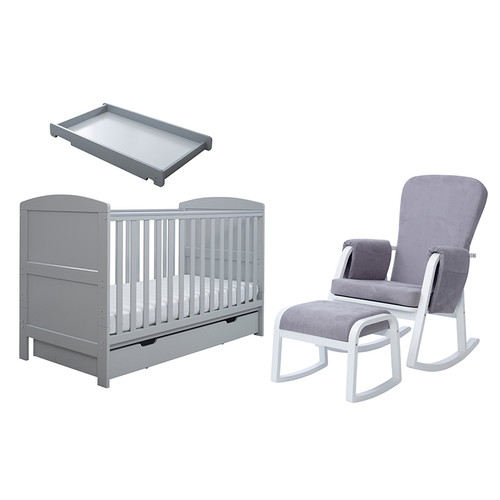 Coleby Classic Sleep, Feed & Change 6 piece bundle cot bed + sprung mattress + under drawer + cot top changer + Dursley rocking chair + stool
