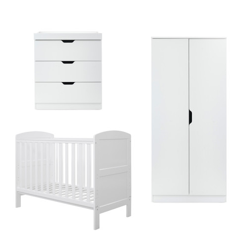 Ickle Bubba Coleby Mini 3 Piece Furniture Set mini cot bed + wardrobe + changing unit White