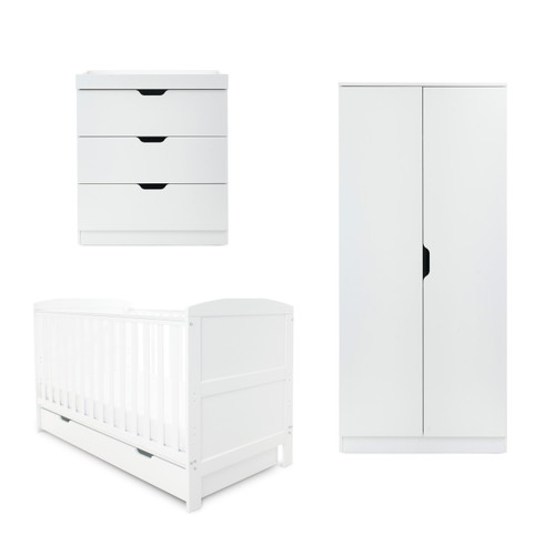 Coleby Classic 5 Piece Bundle & Mattress cot bed + mattress + under drawer + changing unit + wardrobe