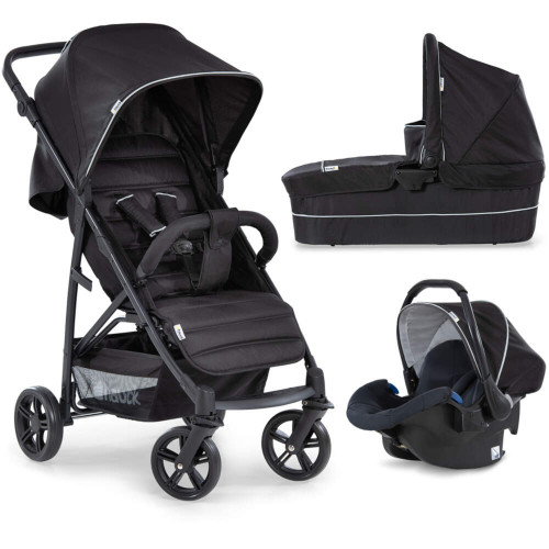 Hauck Rapid 4 Plus Caviar Black Trioset:Includes Rapid 4 Stroller, Carrycot & Comfort Fix Car Seat